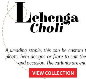 Lehengas in Circular, Mermaid, A-line & Jacket styles for weddings. Order now!