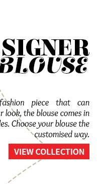 Designer Blouses in Mandarin, Halter neck, Boat neck, Sweetheart neck Square neck & High neck variety. Order now!