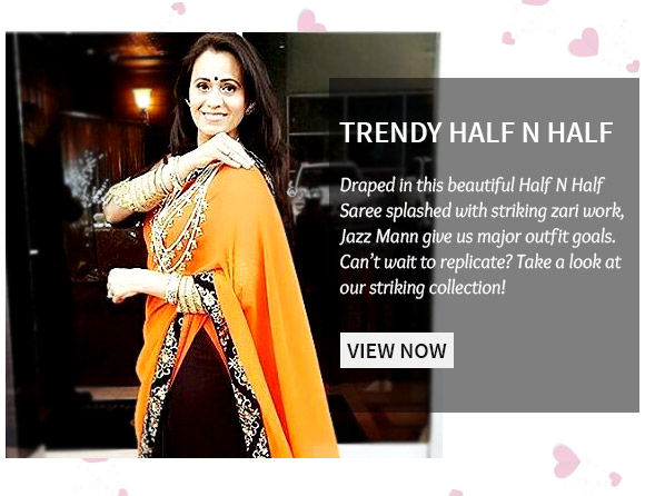 Choose from our beautiful range of Half N Half Sarees. Shop Now!