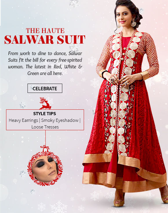 Salwar Suits in Red, White & Green with embroidery for Xmas season. Shop!