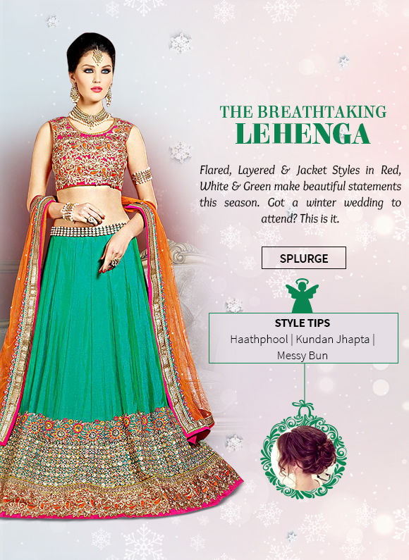 Lehenga Cholis in Red, White & Green with embroidery for Xmas season. Shop!
