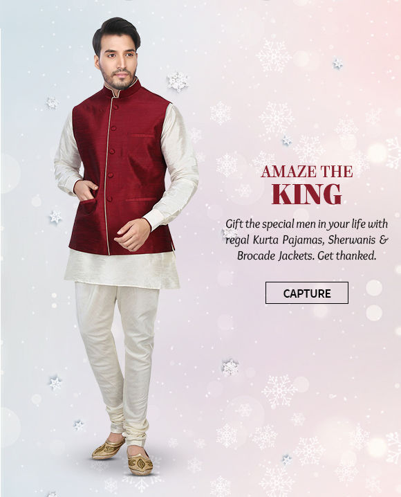 Xmas gifts of  Kurta Pajamas, Sherwanis & Brocade Jackets.in heavy fabrics. Shop!