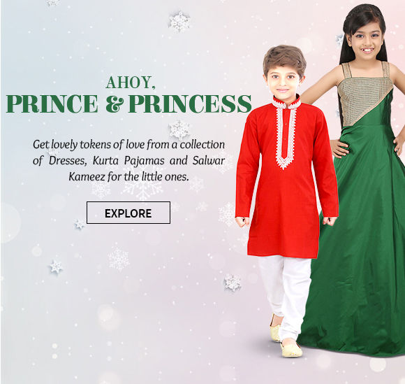 Xmas gifts of Dresses, Kurta Pajamas and Salwar Kameez for the little ones. Shop!