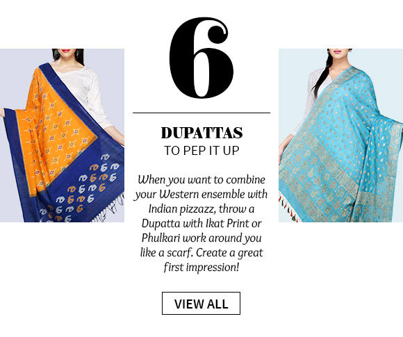 Dupattas in myriad colors with Ikat print, Phulkari work, gota patti borders & more. Shop!