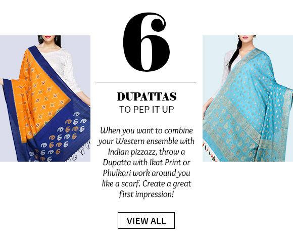 Dupattas in myriad colors with Ikat print, Phulkari work, gota patti borders & more. Shop!