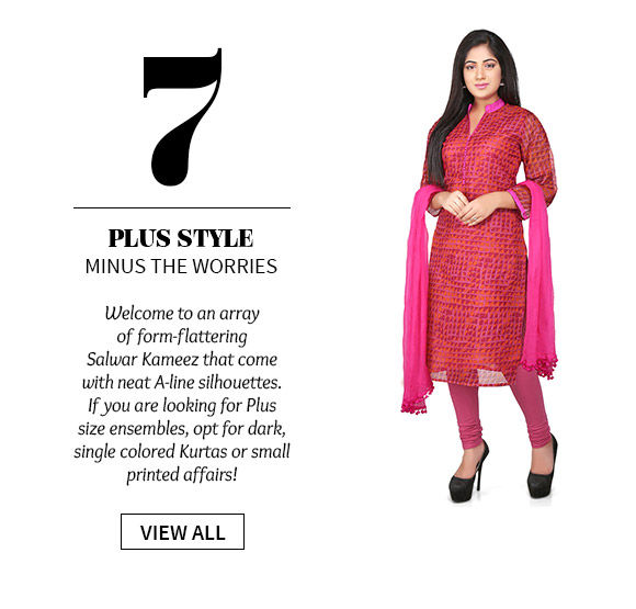 Plus size Salwar Kameez in dark, single colors with small prints. Shop!