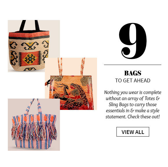 Totes & Sling Bags in fabric or leather with smart digital prints or stripes. Shop!