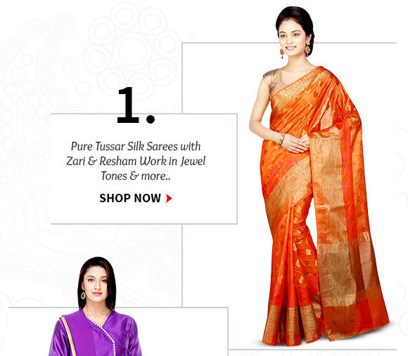 Choose from our wide range of Pure Tussar Silk Sarees. Buy Now!