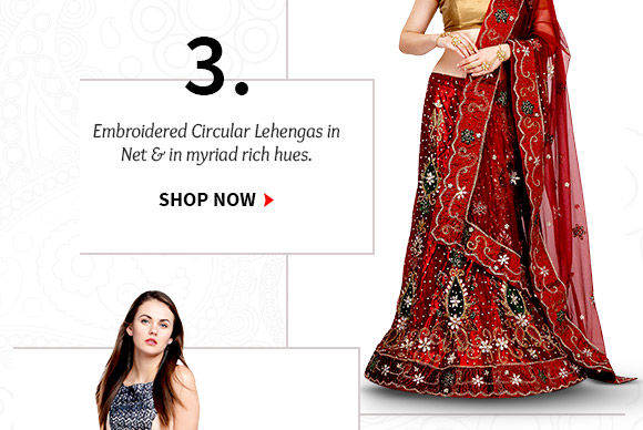 Choose from our stunning Collection of Circular Lehengas. Buy Now!