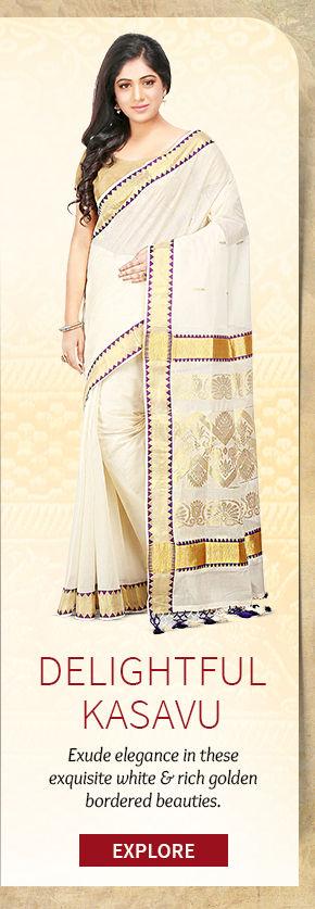 A beautiful repertoire of Kerala Kasavu Sarees. Buy Now!