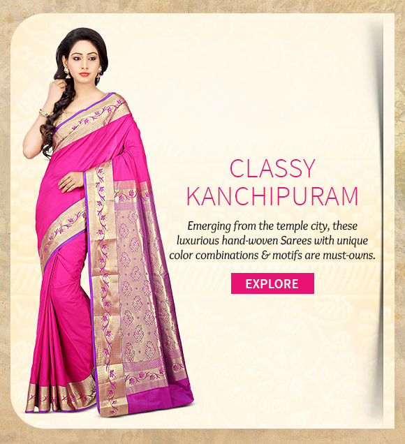 Choose from our vast range of beautiful Kanchipuram Sarees. Buy Now!