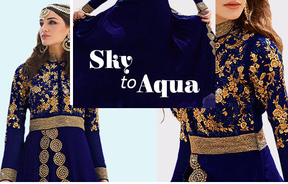Blue collection of Sarees, Suits, Lehengas and more. shop!