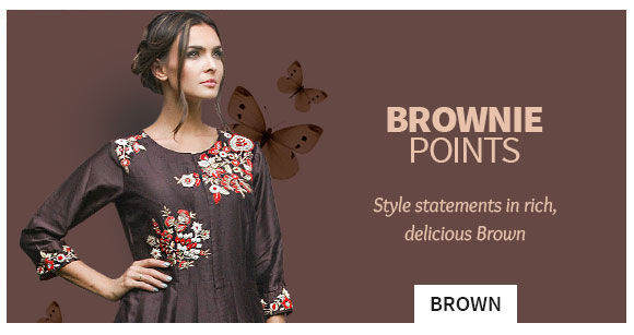 Sarees, Salwar Suits, Lehengas and more in Brown. Shop!