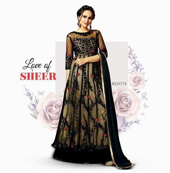 Sheer collection in Net Sarees, Lehengas, Abayas and Fusion wear. Shop!