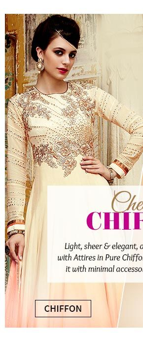 Up to 70% Off on Pure Chiffon Sarees & Salwar Suits. Buy Now!
