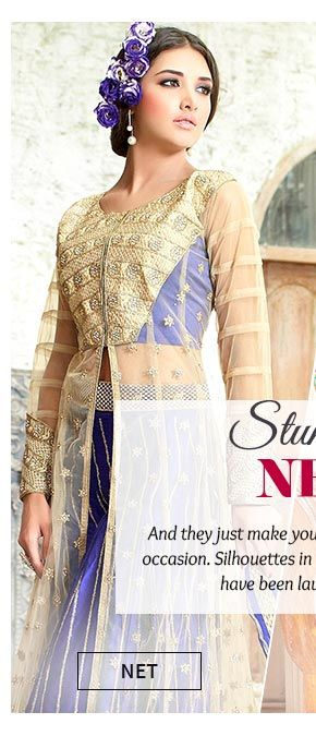 Up to 70% Off on Net Sarees, Salwar Suits, Lehengas & more. Buy Now!