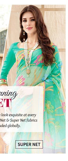Up to 70% Off on Super Net Sarees, Salwar Suits & Indowestern. Buy Now!