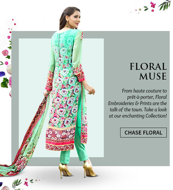 Sarees, Salwar Suits, Lehengas & more in Floral prints. Buy Now!