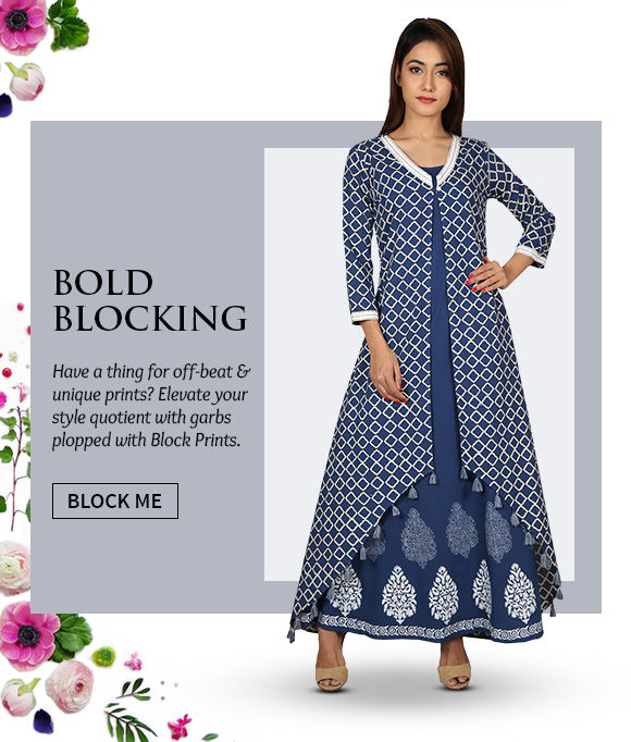 An inspiring range of Sarees, Salwar Suits, Lehengas & more in Block Prints. Buy Now!
