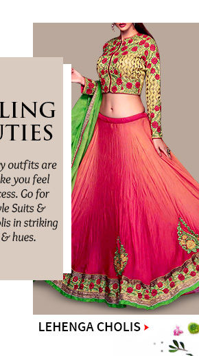 Choose from our beautiful array of Lehenga Cholis. Buy Now!