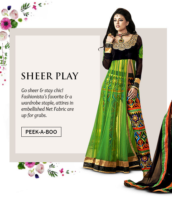 A stunning repertoire of Attires in Net fabric. Buy Now!
