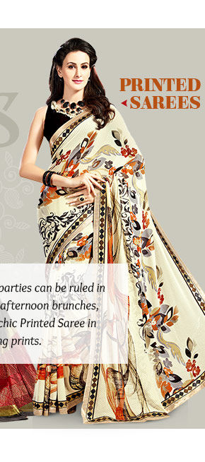 Explore statement borders in Printed Sarees. Buy Now!