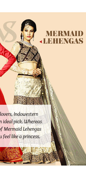 The perfect style for a bride to be- Mermaid Style Lehengas. Buy Now!