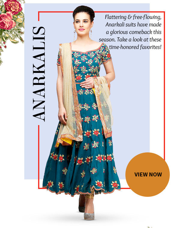 Choose from our gorgeous array of Anarkalis. Buy Now!