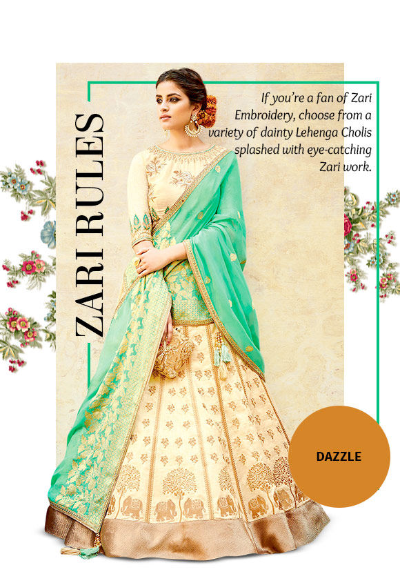 A gorgeous array of Lehenga Cholis with Zari work. Buy Now!