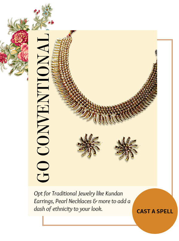 A lovely collection of Kundan Earrings, Pearl Necklace Sets, Stone Studded Bracelets & more. Buy Now!