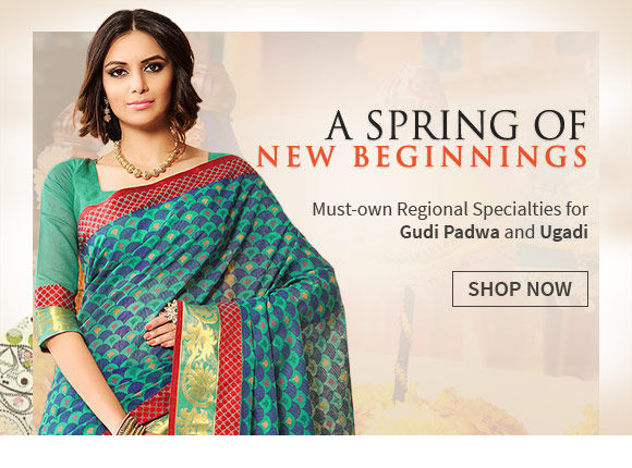 Celebrate the new beginnings of Indian new year with our collection of silks. Shop Now!