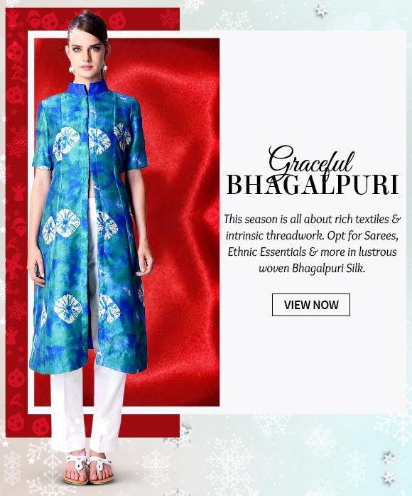 Gorgeous Sarees, Lehenga Cholis, Salwar Kameez & more in Bhagalpuri Silk. Buy Now!