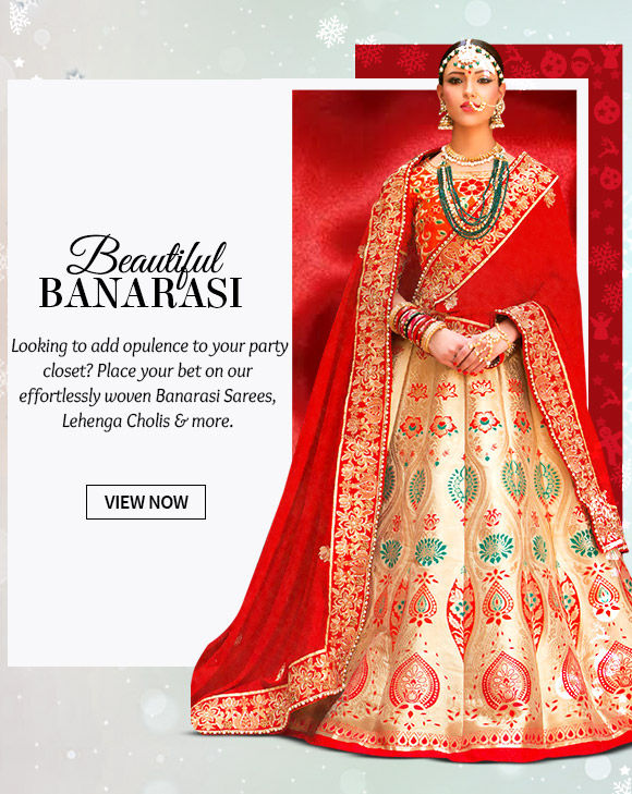 A myriad of gorgeous Banarasi Sarees, Salwar Kameez, Lehenga Cholis & more. Buy Now!