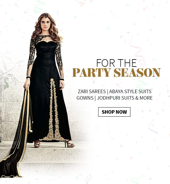 New Year Party Mix: Zari Sarees, Abaya style Suits, Gowns, Jodhpuri Suits & more. Explore!