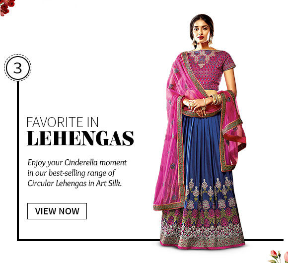 best-selling Art Silk Circular Lehengas. Shop Now!