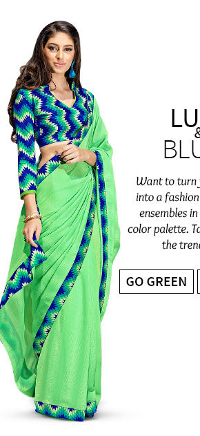 Stunning Sarees, Salwar Suits, Lehenga Cholis & more in Green hue. Shop Now!