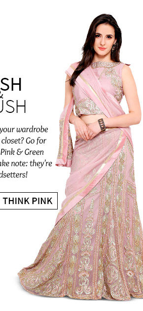 Stunning Sarees, Salwar Suits, Lehenga Cholis & more in Pink hue. Shop Now!