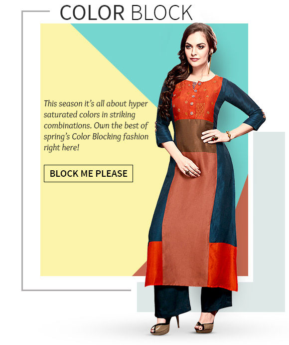 A versatile range of Color Blocked Ensembles in Bright Neons & Bold Hues. Buy Now!