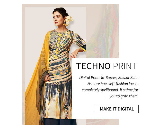 Gorgeous array of Sarees, Salwar Suits, Lehenga Cholis & more in Digital Print. Shop Now!