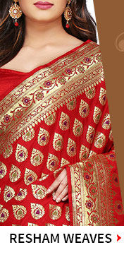Resham Embroidered Sarees & Suits with Resham Weaves like Cotton Silk, Pure Silk Sarees. Shop Now!