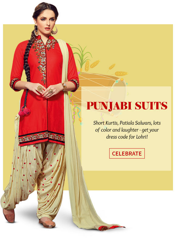 Punjabi Suits in bright colors, embroidery and prints for Lohri. Shop!