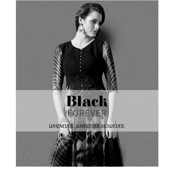 Black collection of Patchwork Sarees, Anarkalis, Tunics, Lehengas & more. Shop Now!