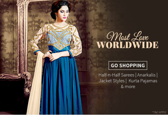 Wishlist of Half-n-Half Sarees, Anarkalis, Jacket Styles, Kurta Pajamas & more. Shop!