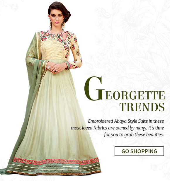 Take a look at our wide range of Embroidered Abaya Style Suits, Pakistani Suits & more in Georgette & Art Silk. Buy Now!