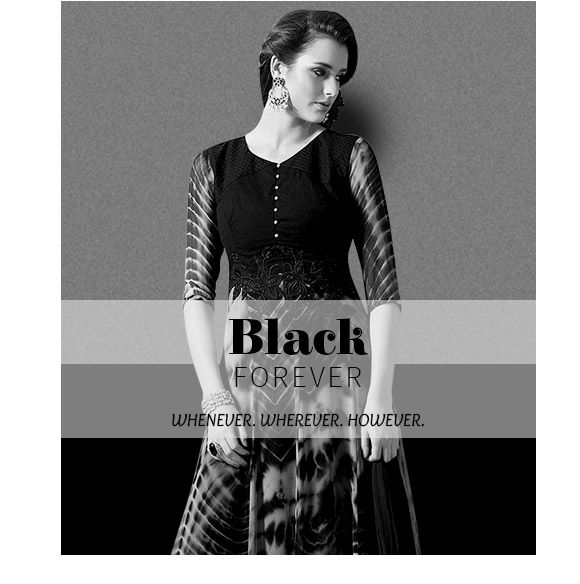 Black collection of Patchwork Sarees, Anarkalis, Tunics, Lehengas & more. Shop!