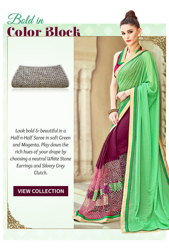 Color blocked Half-n-Half Sarees in dual fabrics with add-ons. Shop!