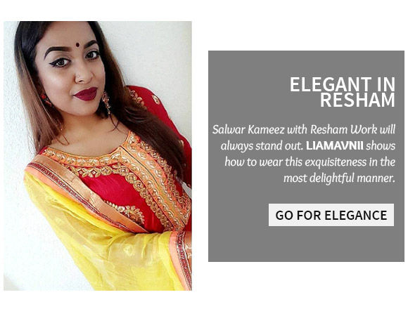 A gorgeous array of Resham Embroidered Salwar Kameez. Shop Now!