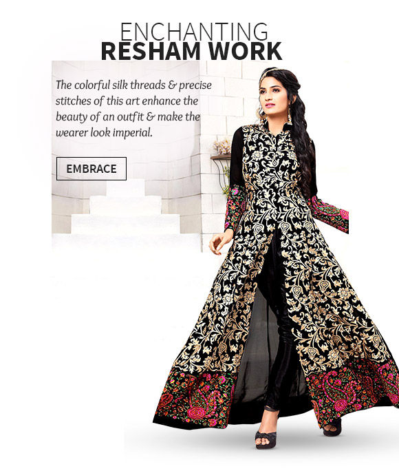 A wide array of Sarees, Salwar Suits, Lehenga Cholis, Bags & more with Resham Embroidery. Buy Now!