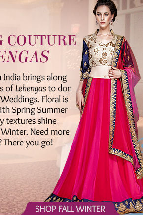 Pick from our Fall Winter line of Lehengas in Velvet & Silks. Shop!