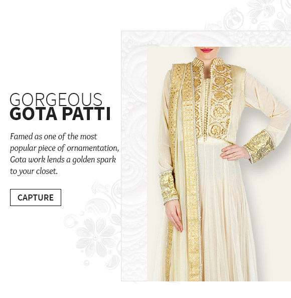 Famed as one of the most popular piece of ornamentation, Gota work lends a golden spark your closet.